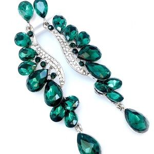 NEW PROM PAGEANT Emerald Crystal Statement Earring